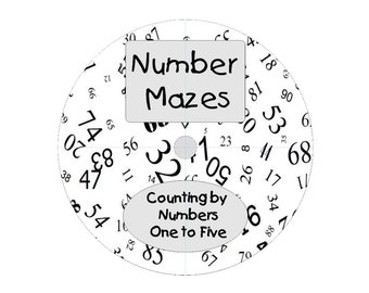 Number Maze Puzzles Counting By Numbers 1 Through 5 Educational Instant Download