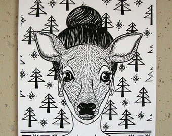 As a doe; n.1; archival print of original handmade ink drawing