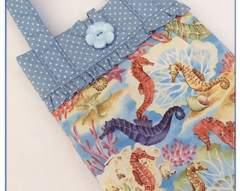 Tablet bag / iPad sleeve / bag with handles / girls iPad bag / iPad case / iPad air 5 bag / seahorses / padded iPad bag / novelty bag