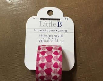Little B 25mm pink hearts washi tape