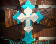 Extra Large Wood Western Rustic Wall Cross Turquoise Wall Art Wall Decor Rustic Cross Decor