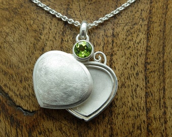 Silver Locket 'Spade', Neclace, Pendant, Photo Locket, Spiral, Swirls, Peridot, Heart Shaped, Keepsake
