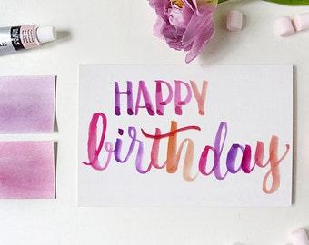 birthday card | happy birthday greeting card | watercolor birthday card