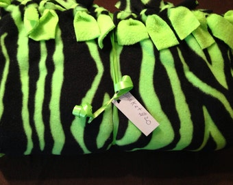 Neon green zebra print fleece blanket
