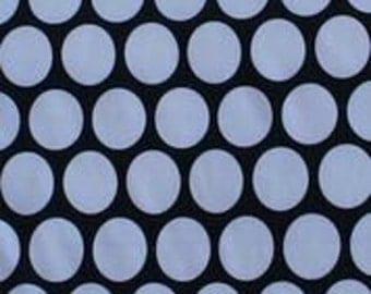 Mega White Dots on Black Polyester Rayon Lycra Jersey Knit Fabric [SKU:MFR14FAB016]