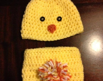Newborn Chick Hat, Crochet Chick Hat & Diaper Cover, Chick Hat, Easter Hat, Crochet, Crochet Easter Hat, Easter, Yellow, Crochet Set, Photo
