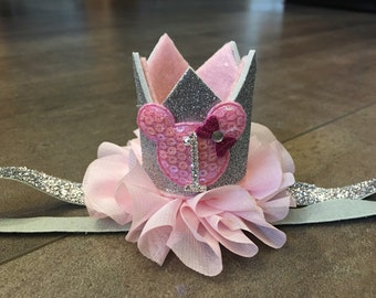 Pink and silver minnie mouse birthday crown headband, minnie mouse birthday headband, first birthday crown
