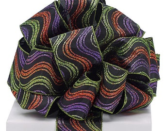 "New 4 yards Halloween Ribbon 2-1/2"", Wired Halloween Ribbon, Halloween Craft Supplies, Halloween Wreath Supplies"