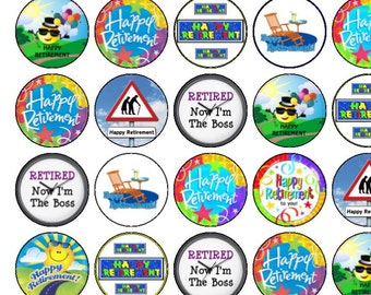 30 Assorted Happy Retirement Premium Rice Paper Cup Cake Toppers
