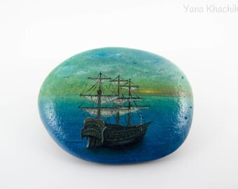 Ship (Original oil painting on a stone). Free shipping