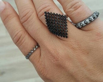 Rhombus ring, silver with black zircons, 925 sterling silver