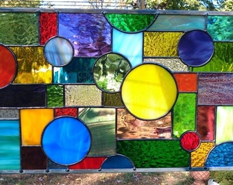 Multi-Colored Geometric Stained Glass Hanging Panel