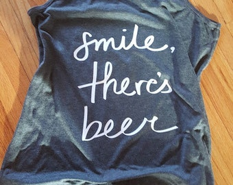 Smile There's Beer Racerback Tank Top