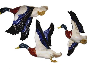 Set 3 Large Flying Mallard Ducks