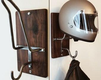 Handmade Motorcycle Helmet Rack & Jacket Hook