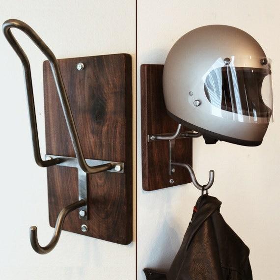 motorcycle helmet rack jacket hook. Black Bedroom Furniture Sets. Home Design Ideas