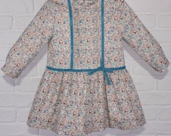 GIRL DRESS. Flowers size T5. Classic party dress. Toddler dress. Made in Spain.