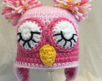 Crocheted owl hat, Baby hat, newborn photo prop, Baby shower gift