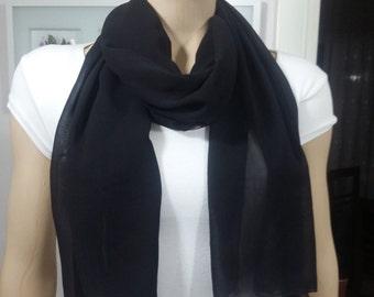Black chiffon scarf,   chiffon shawl, chiffon scarf, infinity scarf, black scarf, women scarf ,women scarves, long scarves