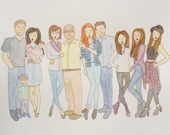 11-12 people/pets Custom Watercolor Portrait