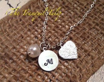 Initial Necklace - Hand Stamped Personalized Jewelry - Bridal Party Gift - Brides Maids Gift - Metal Stamped Personalized Necklace