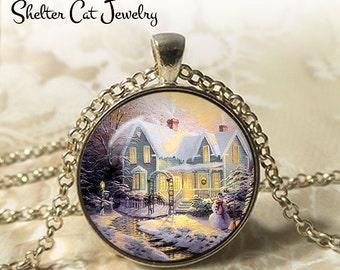 """Winter Wonderland with a Snowman - 1-1/4"""" Circle Pendant or Key Ring - Photo Art Jewelry - Vintage Christmas, Snowy Scene, Holiday Gift"""