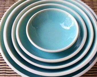 Dinnerware Set, Oryoki Set, Porcelain, Light Blue, White, Nesting Bowls