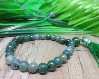 One (1) Moss Agate Wrist Mala / Bracelet for meditation in 6mm Moss Agate beads, Tibetan wrist mala Moss Agate Bracelet