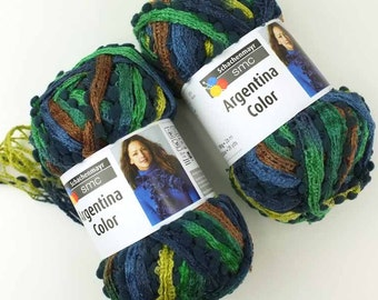 Ruffle Scarf Yarn, 2 pack SALE Argentina, Earth mix, kelly green, blue, citrus