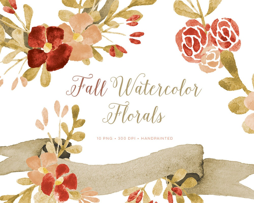 Fall Clipart Watercolor Flowers and Wreaths including banner images ...