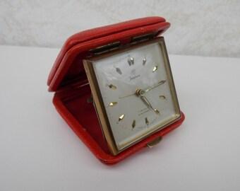 Travel clock, germany clock, mechanical clock, alarm clock, Junghans clock, gift idea, decor, table clock, retro clock, small clock, red