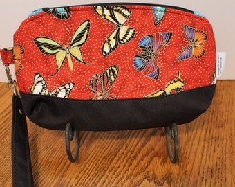 Butterfly glitter fabric wristlet  zip top, swivel snap on wristlet handmade purse handbag