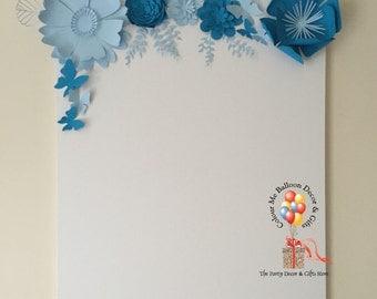 Paper flower, custom paper flowers, paper flower wedding, paper flower signing canvas, Paper flower wall decor