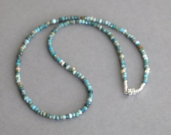 Blue Apatite Necklace Beaded Choker Gemstone Necklace