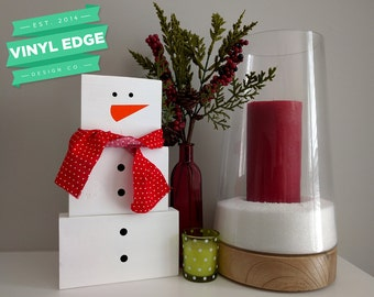 Rustic Snowman Christmas Holiday Decor - Wooden Winter Snowman Blocks - Primitive Snowman Wood Block Set - Christmas Decor [BLOCK0005]