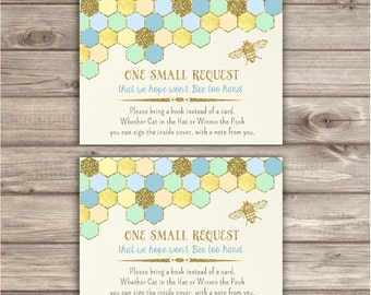 Book Request Mom to Bee Baby Shower Boy Blue and Gold Glitter Honey Bee Geometric Invitation Aztec Tribal Bumble printable Bee Bring a Book