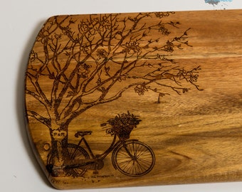 Engraved Wooden Chopping Board - Cutting Board - Cheese Board - Platter - Bike and Tree