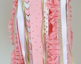 Ribbon Baby Mobile, Baby Girl Nursery Mobile, Pink and Gold