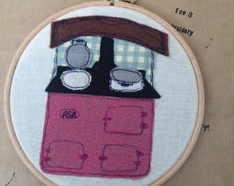 Aga farmhouse range cooker freehand embroidery hoop