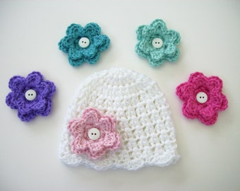 Toddler Girl Hat, Choose 5 Flowers, Baby Girl Hat, Baby Shower Gift, Crochet Baby Hat, Newborn Photo Prop, Newborn Hat, Flower Hat, Baby Hat