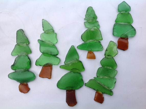 Christmas tree ornaments sea glass art