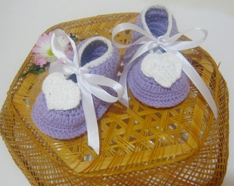 Hand Crocheted Shoes Shoes Girl Shoes Gift For Baby Shoes Purple Heart Shoe Sole