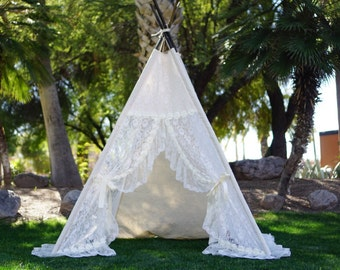 XL Eternity lace teepee 8ft kids Teepee large tipi Play tent wigwam & XL plain teepee 8ft kids Teepee beach tent large tipi Play