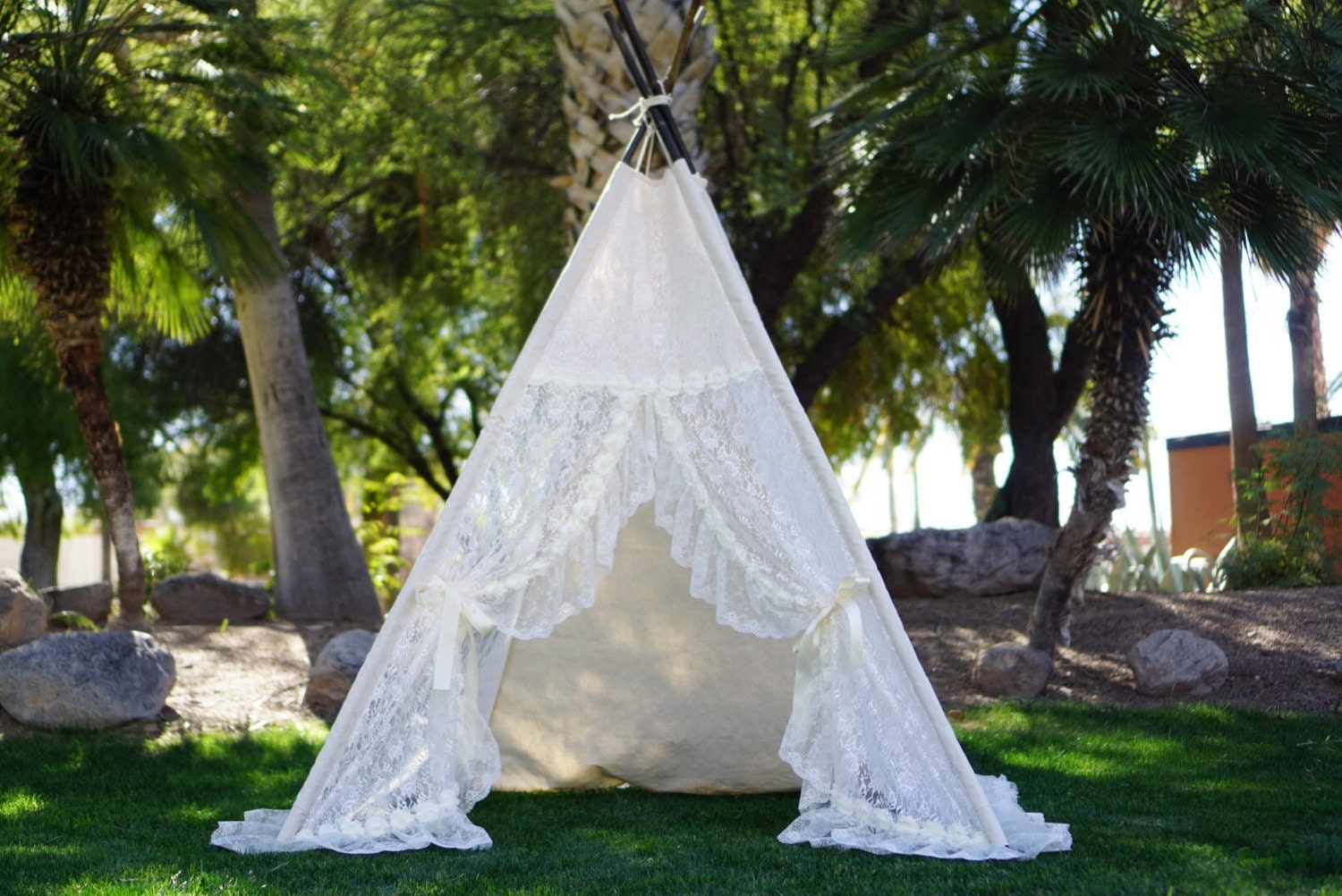 XL Eternity lace teepee 8ft kids Teepee large tipi Play tent wigwam or playhouse & XL Eternity lace teepee 8ft kids Teepee large tipi Play tent ...