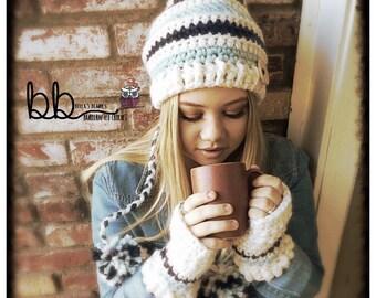 The Feyona Cap/Mitt Set - crochet made to order - used The Velvet Acorn pattern