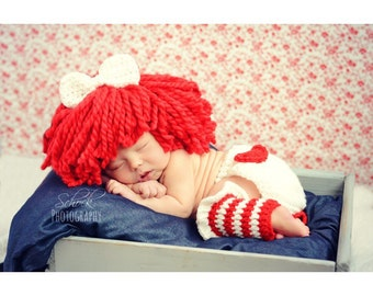 Raggedy Ann Wig and Warmer cuffs - crochet made to order - Newborn to 12 month size