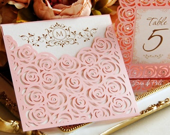 Roses Lace Wedding Luxury Envelope Card Template cutting file C111 (svg, dxf, ai, eps, png, pdf) laser cut pattern Instant Download