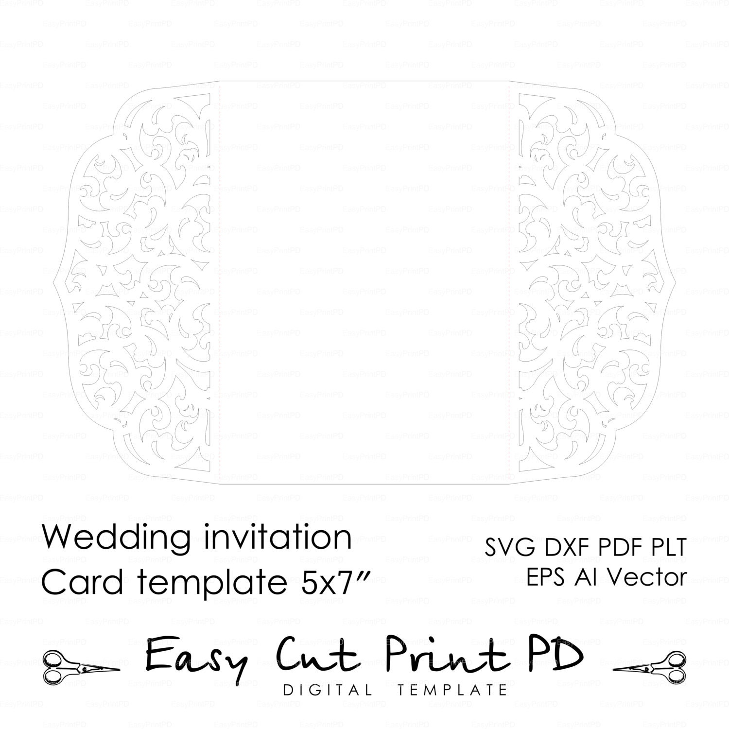 wedding invitation pattern card 5x7 template by easycutprintpd. Black Bedroom Furniture Sets. Home Design Ideas