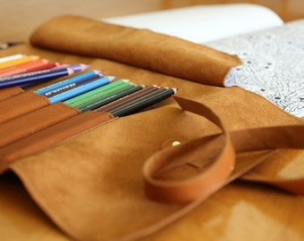 Leather Pencil Roll hold 24 pencils, NO name plate