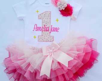 First birthday Girl outfit,Girls Cake Smash Outfit,Baby Girl 1st Birthday outfit,1st birthday tutu,twinkle twinkle star birthday girl outfit